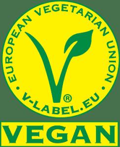 Logo V-Label. Vegan-Zertifizierung